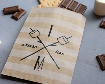 Wedding Favor Bag - S'more - Custom Printed - Personalized - Treat Bags - Candy Bags - 25 bags