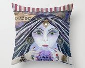 AMAZING, Circus, Gypsy, Fortune Teller, Big Top, throw PILLOW, Art, home decor, pillow, Unique Gift, mixed media, collage, Alicia J Hayes
