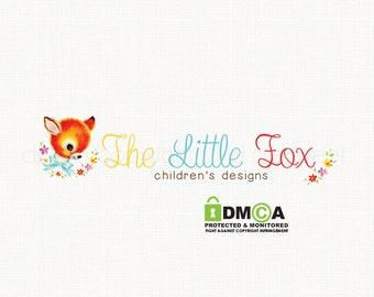 fox logo design premade logo design vintage logo design bespoke logo design photography logo children's boutique logo sewing logo design