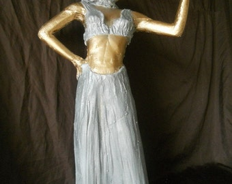 woman with bird sculpture contemporary fine art collectible limited edition cast resin classical