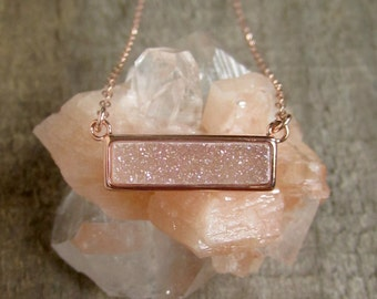 Rose Gold Druzy Necklace, Natural White AB Druzy Necklace, Gemstone Bar Necklace, Drusy Necklace, Druzy Quartz Jewelry