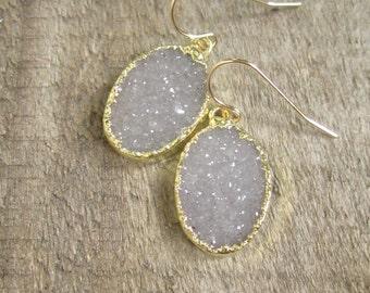 Druzy Earrings, Drusy Earrings, Gemstone Earrings, Druzy Quartz Jewelry, Drops Earrings, Geode Earrings, Gold Earrings