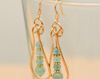 Gold wire wrapped Green Aventurine narrow teardrop earrings