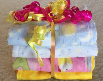 Sweet Dreams (Pink) - Set of 4 Reversible Burp Cloths - Ready to Ship by PiquantDesigns