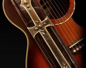 Brown Guitar Strap, Cross Guitar Strap:  Paladin's Cross Guitar Strap