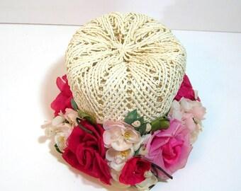 Pink Floral Vintage Hat