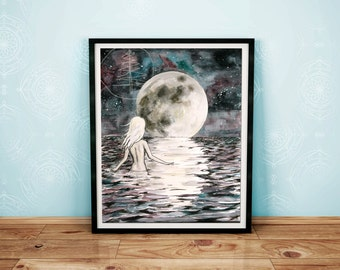 Art print - Water color painting of moon - 8x10 art print