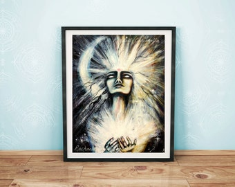 Giclée Art Print - Woman of Light - Light Bringer - Mixed Media - Large Art Print
