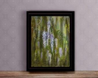 Wisteria Painting - 11x14 print Mixed Media - Floral artwork - Original Painting