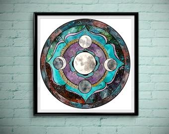 Super Moon Mandala - Large Square Art Print - Spirit De La Lune Art Print - Elements - Moondala