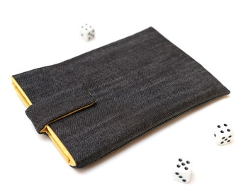 Kobo Mini, Touch, Glo, Aura sleeve case pouch handmade with magnetic closure dark jeans and yellow
