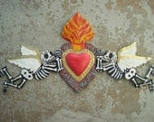 Painted Aged Tin Day of the Dead Door Ornament with Angels Sacred Heart - Mexico