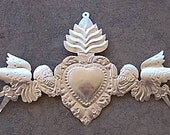 Shiny Silver Colored Tin Day of the Dead 3D Door Ornament with Angels Sacred Heart
