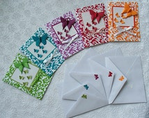 butterfly origami card -greeting-birthday-thank you-baby shower card-get well-折り紙カード set of 5 cards