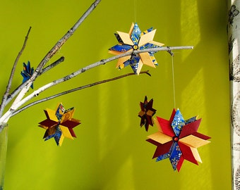Set of 10 modular origami ornaments-10 Handmade paper Christmas tree decorations
