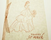 10 Wedding Thank You Cards - Bridal Thank You Cards - Wedding Cards - Thanks So Much Cards - Vintage Style Wedding Cards - Wedding Shower
