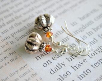 Pumpkin Earrings Silver Pumpkin Earrings Topaz Pumpkin Earrings Thanksgiving Earrings Pumpkin Jewelry Metal Pumpkin Earrings Pumpkin Spice
