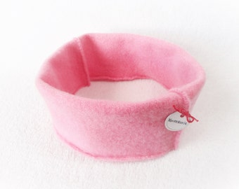 Cashmere Earwarmer Headband COTTON CANDY PINK Ear Warmer Head Band Upcycled Sweater by WormeWoole