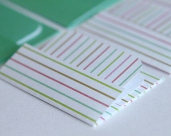 Mini Cards n Envelopes - Set of 8 - Mint Green with Colorful Stripes -White, Pink, Green, Teal, Blue