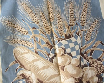 Wheat. Vtg MWT Martex kitchen towel / French brioche bread wheat food foodie / rayon cotton linen / never used, excellent condition.