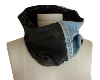 Sale BLACK LEATHER COWL Scarf with Upcycled Denim, Menswear Wool, Fall Scarf Mens Cowl Womens Neckwarmer Patchwork Cowl Scarf Only 1