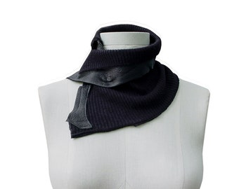 Leather Cowl Scarf - Merino wool - Upcycled scarf - Leather Scarf - Black brown Goatskin - Upcycled Ribbed Scarf - Wrapping Neckwarmer