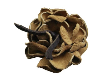 RUSTIC LEATHER BROOCH or groom's boutonniere buckskin beige leather flower only one of a kind