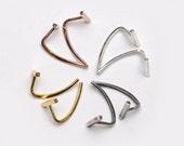 Bar Open Hoop Earrings, Sterling Silver & Gold Plated, Bar Threader Earrings, Hugging Hoops, Minimalist Jewelry, Hand Made, Gift, EA029