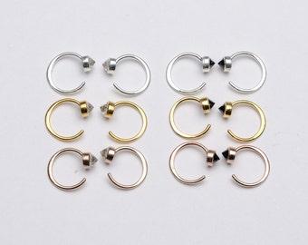Tiny Black Spinel Hug Hoops, Sterling Silver & Gold Plated, Gemstone Hug Earrings, Open Hoops, Minimalist Jewelry, Hand Made, Gift, EA030