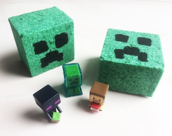 TOY INSIDE!  WOW!  Surprise Bath Candy with Minecraft Toy! Video Game Party Idea - Large Lush Bath Fizz Bomb Gift Idea or Creeper Favors -