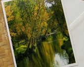Autumn River Reflections Photo Note Card Scenic Nature Photography Montana