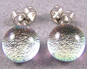 """Tiny Dichroic Stud Post Earrings - 1/4"""" 7mm - Pastel PINK Silver Clear Opal Green n Gold Hue Fused Glass Dichro Dot Studs"""