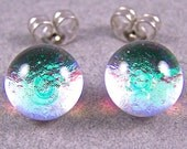 """Tiny Dichroic Stud Post Earrings - 1/4"""" 7mm - Pastel Green Verdigris Viridian Emerald Teal Moonstone Clear Opal Fused Glass Dichro Dot Studs"""