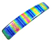 """Dichroic Barrette / Pink Gold Blue Rainbow Fused Glass - 3.5"""" 9cm Patterned Special Effects Tie Dye Prism Striped Colorful Multicolor Morph"""