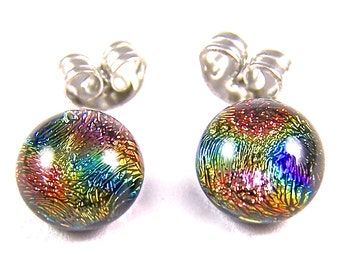 """Tiny Dichroic Post Earrings - 1/4"""" 8mm - Fused Glass Copper Orange Golden Yellow with Cobalt Blue Rainbow Highlights Studs Dots"""