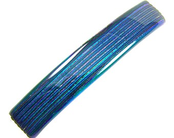 """Dichroic Barrette - 3.5"""" / 9cm -  Emerald Green Teal Striped Reed Textured Fused Glass - Shiny Metallic Color Changing Iridescent Jade Blue"""