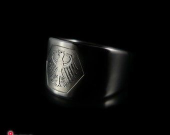 Titanium Men's signet ring with German Bundesadler