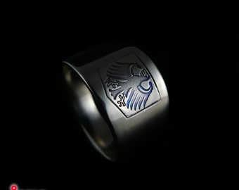Titanium Men's signet ring with German Bundesadler II