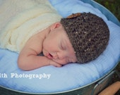 Crochet Boys Hat - Baby Hat - Newborn Hat - Winter Hat - with or without a Coconut Shell Button - in sizes Newborn to 6 Months