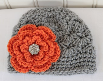 Crochet Girl Hat - Baby Hat - Toddler Hat - Fall Hat - Light Gray (Grey) Hat - Orange Flower with Rhinestone - in sizes Newborn to 3 Years
