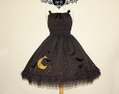 Midnight Rhapsody full shirring jsk dress bats stars moon witch halloween vampire gothic lolita skirt custom pastel goth silver gold