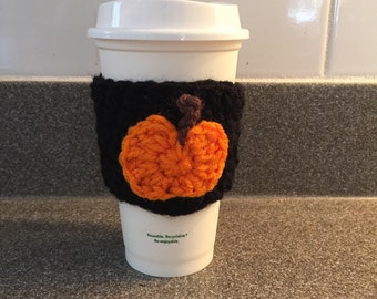 Pumpkin Crochet Coffee Cozy / Sleeve