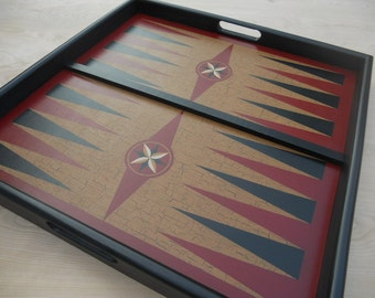 """25"""", Backgammon, Game Board, Tray Frame, Wood, Wooden, Hand Painted, Folk Art, Primitive, Game Boards"""