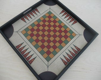 Checkerboard, Draughts, Carrom,  Game Board, Wood, Wooden, Game Boards, Primitive, Folk Art, Tray Frame, Tray