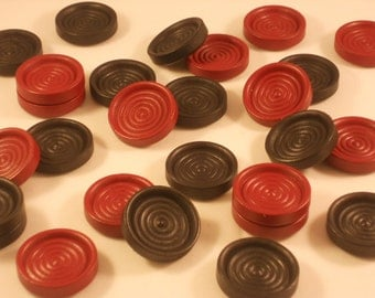 30 Wooden Checkers / Draughts, Wood Playing Pieces