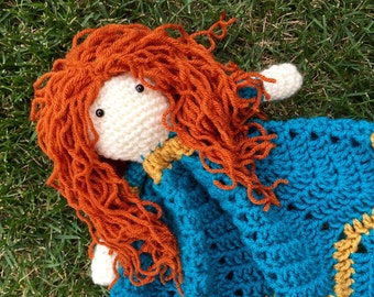 Merida Inspired Lovey/ Security Blanket/ Stuffed Toy/ Plush Toy Doll/ Soft Toy Doll/ Amigurumi Doll/ Merida from Brave Doll- MADE TO ORDER
