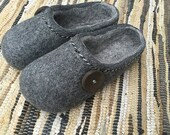 Hand made felted wool slippers. Dark Gray with Gray  inside and Lucky button decor.