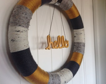Door Decor, Grey and Yellow Wreath, Yarn Wreath, Modern Wreath, Hello