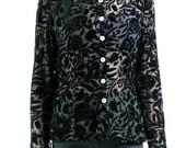 burnout blouse, 90s vintage black floral velvet burnout button front long sleeve blouse, semi sheer, goth romantic, womens medium