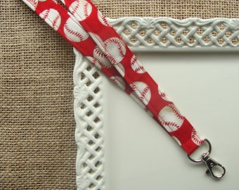 Fabric Lanyard ID -  Baseballs on Red